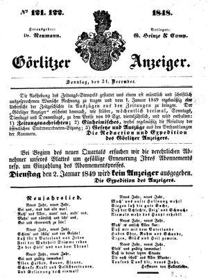 Görlitzer Anzeiger vom 31.12.1848