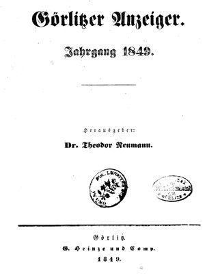 Görlitzer Anzeiger vom 01.01.1849