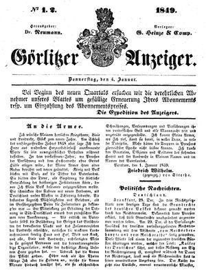 Görlitzer Anzeiger vom 04.01.1849