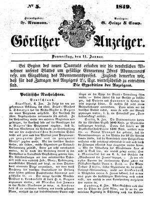 Görlitzer Anzeiger vom 11.01.1849