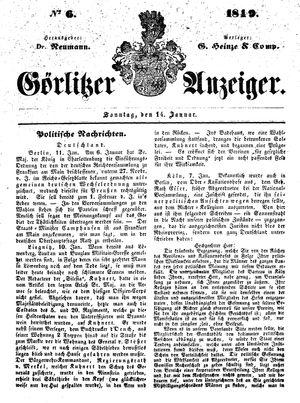 Görlitzer Anzeiger vom 14.01.1849