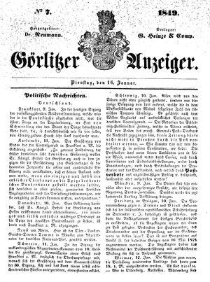 Görlitzer Anzeiger on Jan 16, 1849