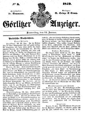 Görlitzer Anzeiger on Jan 18, 1849