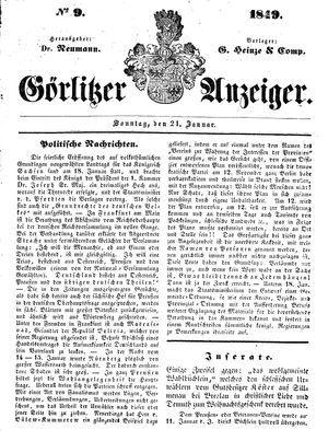 Görlitzer Anzeiger vom 21.01.1849