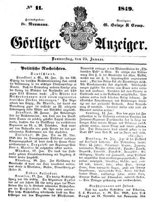 Görlitzer Anzeiger vom 25.01.1849