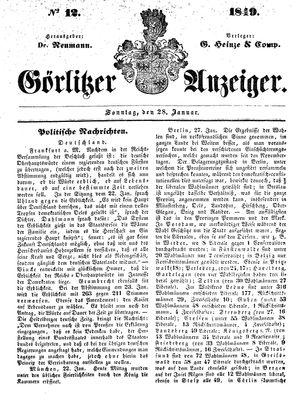 Görlitzer Anzeiger vom 28.01.1849