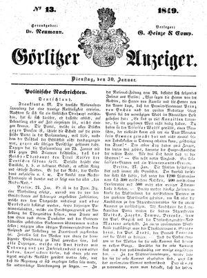 Görlitzer Anzeiger vom 30.01.1849