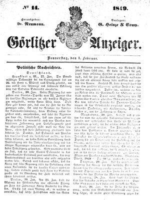 Görlitzer Anzeiger vom 01.02.1849