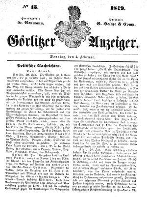 Görlitzer Anzeiger vom 04.02.1849