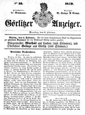 Görlitzer Anzeiger vom 06.02.1849