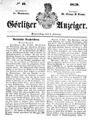 Görlitzer Anzeiger vom 08.02.1849