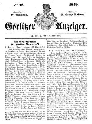 Görlitzer Anzeiger vom 11.02.1849