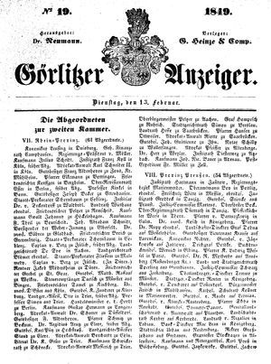 Görlitzer Anzeiger vom 13.02.1849