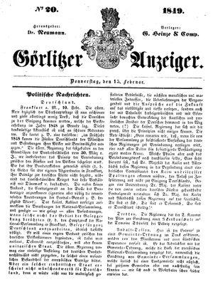 Görlitzer Anzeiger vom 15.02.1849