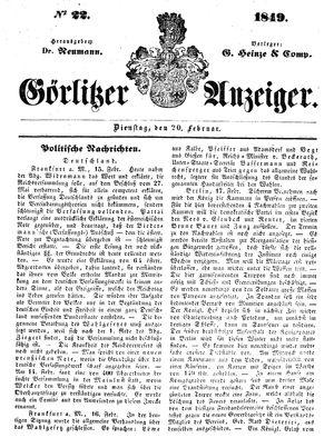Görlitzer Anzeiger vom 20.02.1849