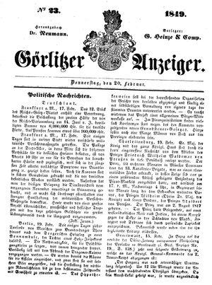 Görlitzer Anzeiger on Feb 22, 1849