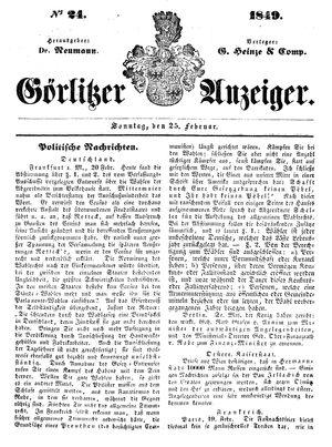 Görlitzer Anzeiger vom 25.02.1849