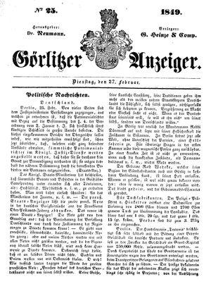 Görlitzer Anzeiger on Feb 27, 1849