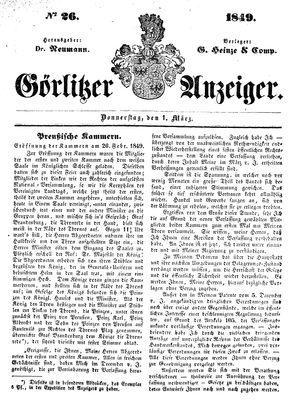 Görlitzer Anzeiger on Mar 1, 1849