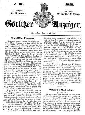 Görlitzer Anzeiger vom 04.03.1849