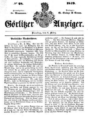 Görlitzer Anzeiger vom 06.03.1849