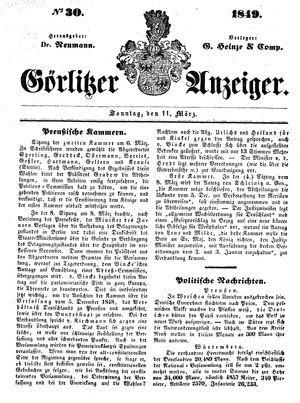 Görlitzer Anzeiger vom 11.03.1849