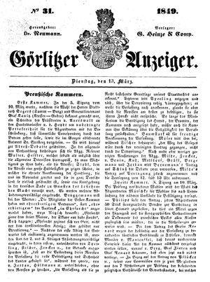 Görlitzer Anzeiger vom 13.03.1849