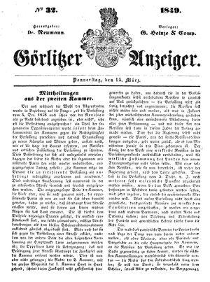Görlitzer Anzeiger on Mar 15, 1849