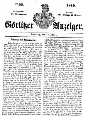 Görlitzer Anzeiger vom 18.03.1849