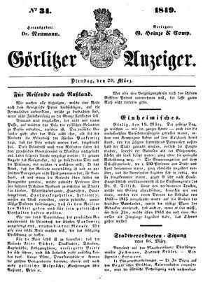 Görlitzer Anzeiger vom 20.03.1849