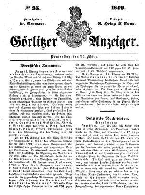 Görlitzer Anzeiger vom 22.03.1849