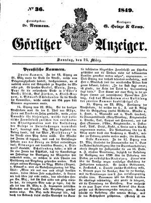 Görlitzer Anzeiger vom 25.03.1849