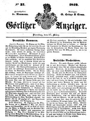 Görlitzer Anzeiger vom 27.03.1849