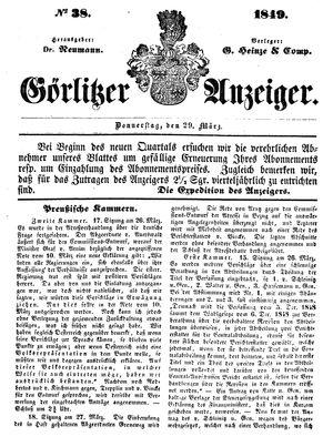 Görlitzer Anzeiger on Mar 29, 1849