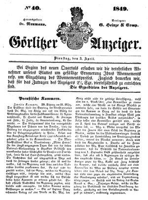 Görlitzer Anzeiger vom 03.04.1849