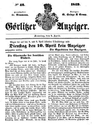 Görlitzer Anzeiger vom 08.04.1849