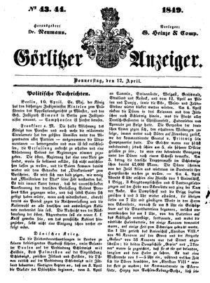 Görlitzer Anzeiger vom 12.04.1849