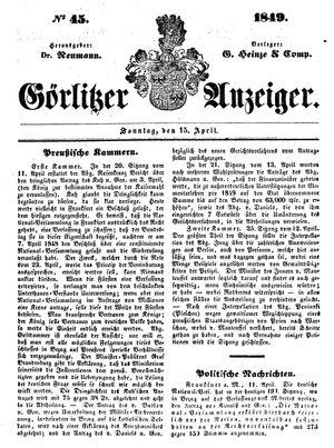 Görlitzer Anzeiger vom 15.04.1849