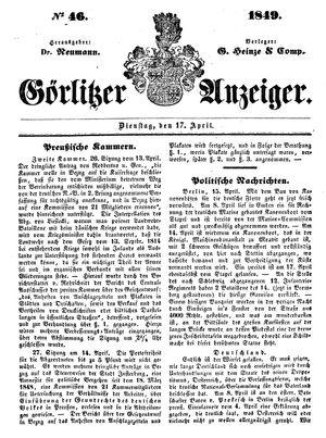 Görlitzer Anzeiger vom 17.04.1849