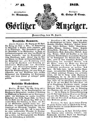 Görlitzer Anzeiger vom 19.04.1849