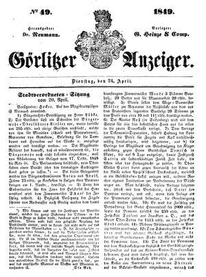 Görlitzer Anzeiger on Apr 24, 1849