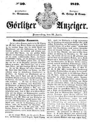 Görlitzer Anzeiger on Apr 26, 1849