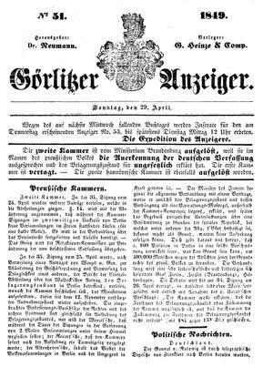 Görlitzer Anzeiger vom 29.04.1849