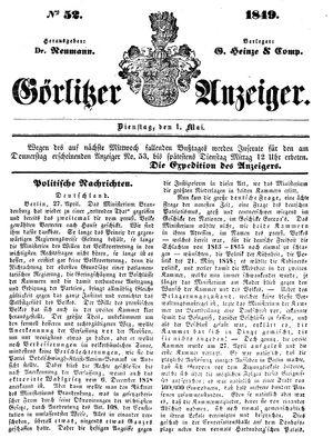 Görlitzer Anzeiger vom 01.05.1849