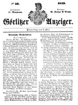 Görlitzer Anzeiger vom 03.05.1849