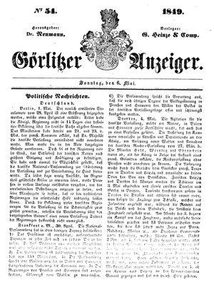 Görlitzer Anzeiger vom 06.05.1849