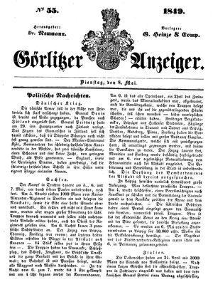 Görlitzer Anzeiger vom 08.05.1849