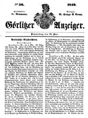 Görlitzer Anzeiger vom 10.05.1849