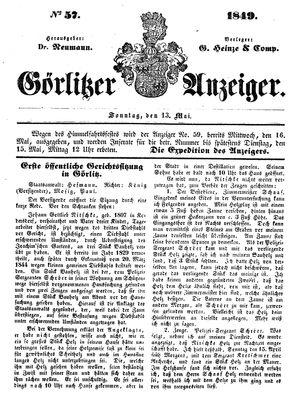 Görlitzer Anzeiger on May 13, 1849