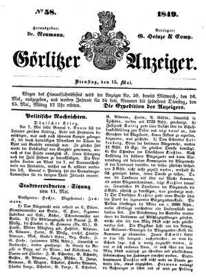Görlitzer Anzeiger vom 15.05.1849